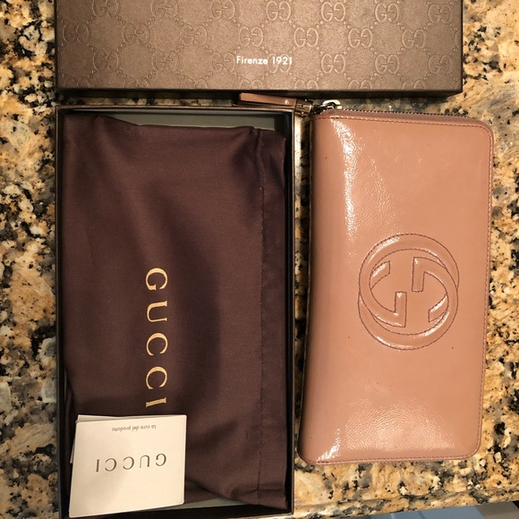 Gucci Handbags - ⚡️⚡️Gucci Nude Soho Pat Leather Zip Around Wallet